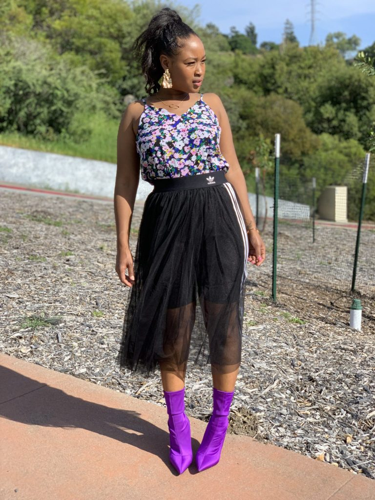 WIWTW EDITION: Post Easter Weekend. Nordstrom Halogen blouse, Adidas tulle skirt. and Steve Madden purple stock booties.