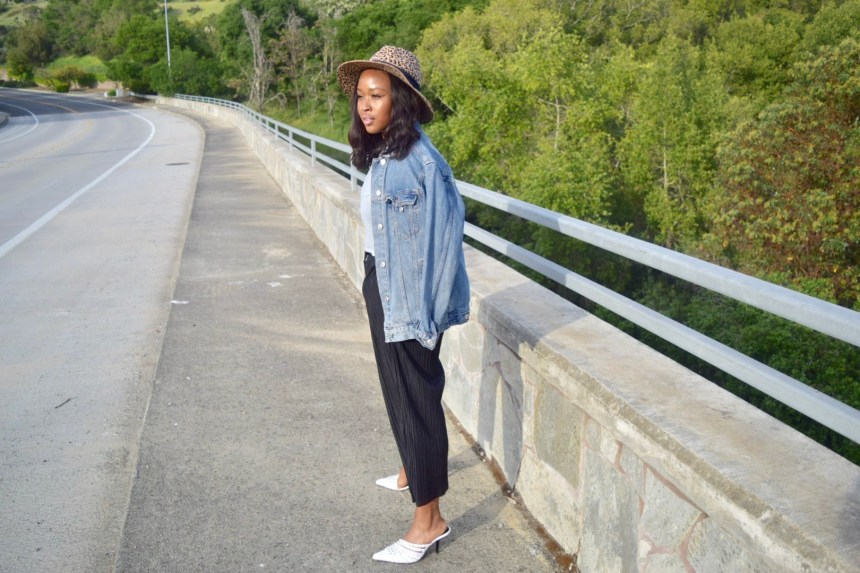 Leisurely Chic Style. Blogger Steffaniemonae.com is Leisurely Chic wearing a Zara Animal print brim hat, HM sheer crop top, Topshop cropped drawstring joggers and Zara pointed toe mule.