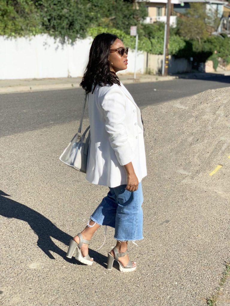 White Zara Blazer, Topshop crop top, Topshop Cropped denim, Zara clear bag, F21 Sport Sandals