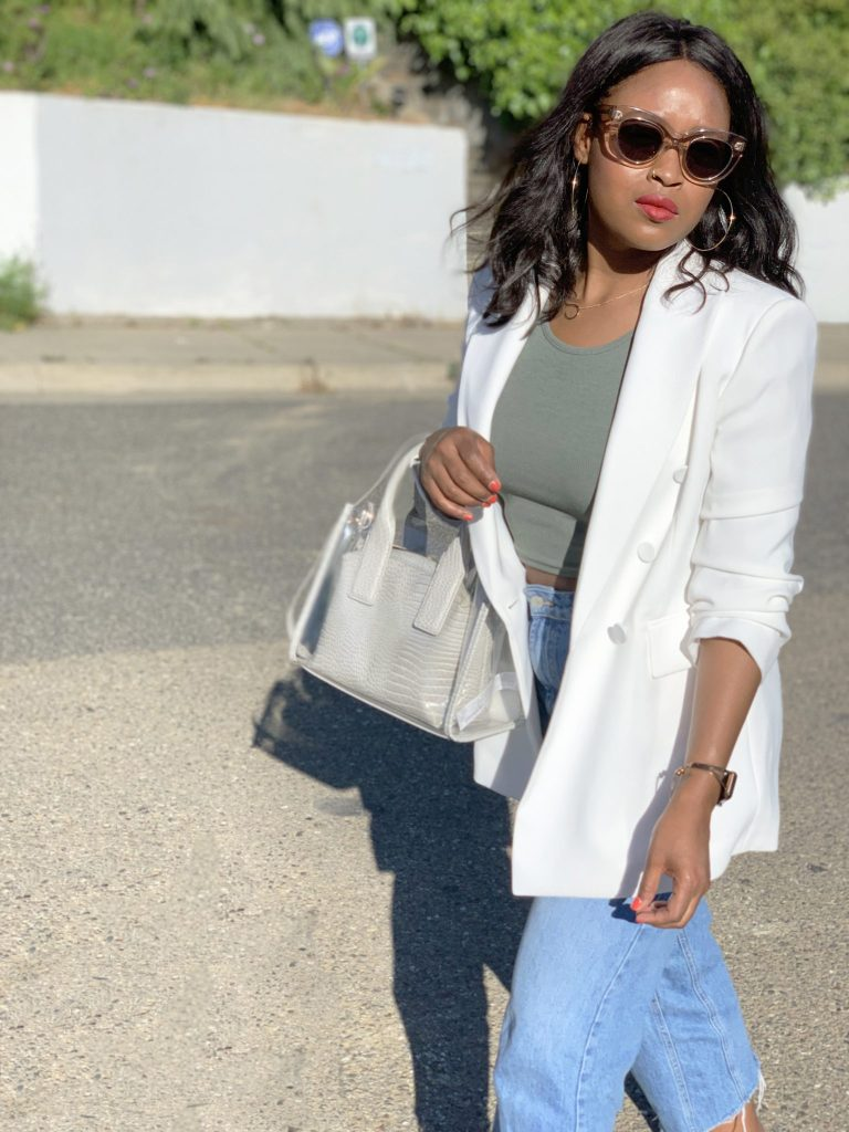 White Zara Blazer, Topshop crop top, Topshop Cropped denim, Zara clear bag, F21 Sport Sandals