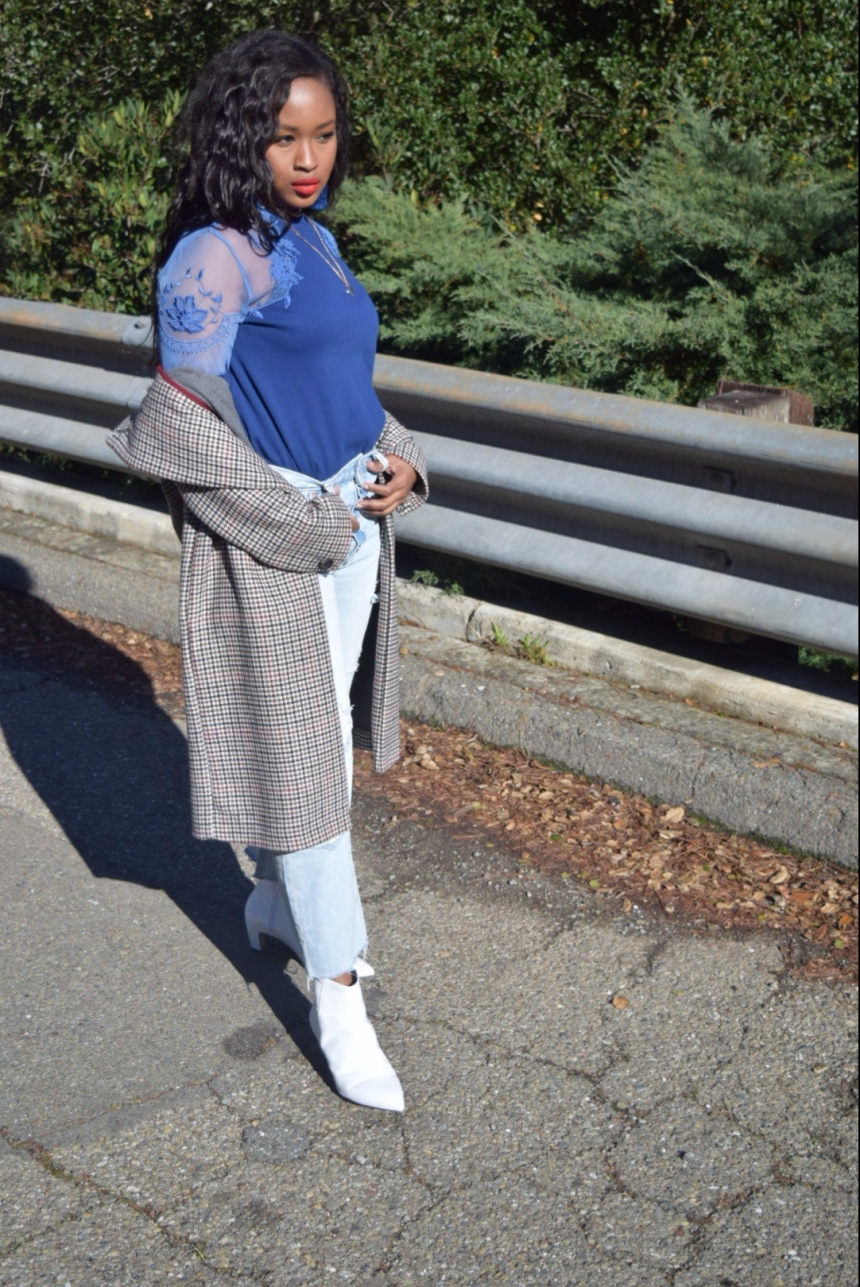 Blue Free People Top, Light Wash Free People Denim, White Ankle Boots And Topshop Jacket